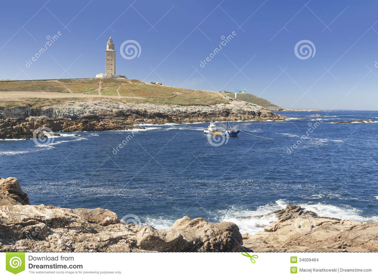 Spain, Galicia, A Coruna, Hercules Tower Lighthouse Stock Images - Image: 34009464