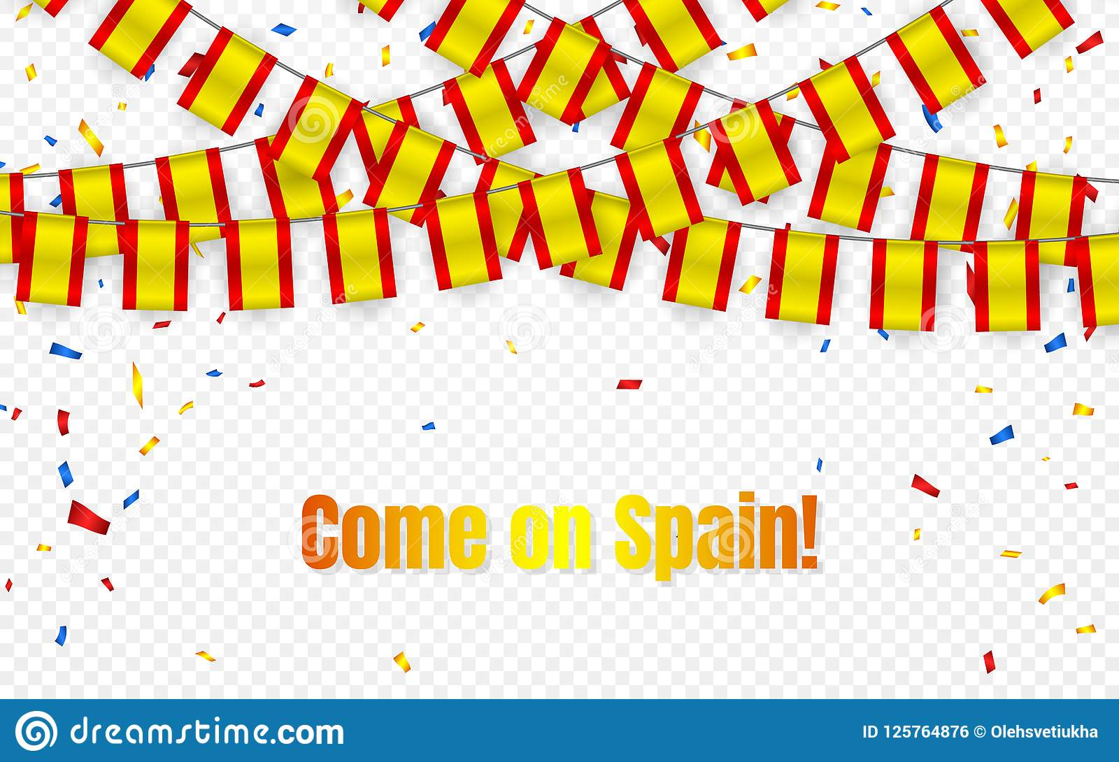 Download spain garland flag with confetti on transparent background hang bunting for celebration template banner