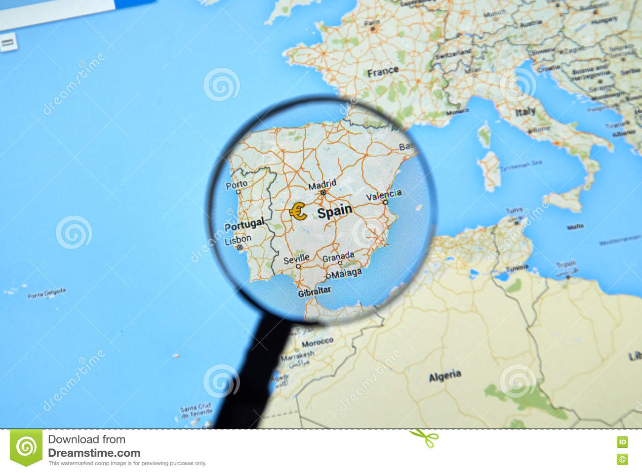 Spain On Google Maps Editorial Stock Photo Image Of City 73615653
