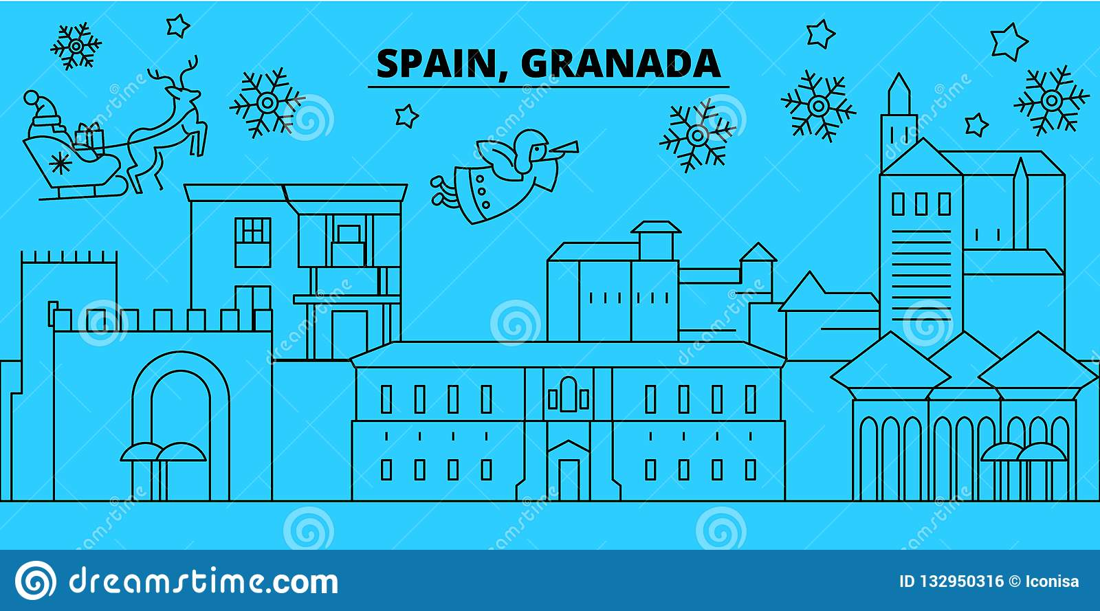 Spain, Granada winter holidays skyline. Merry Christmas, Happy New Year decorated banner with Santa Claus.Spain, Granada