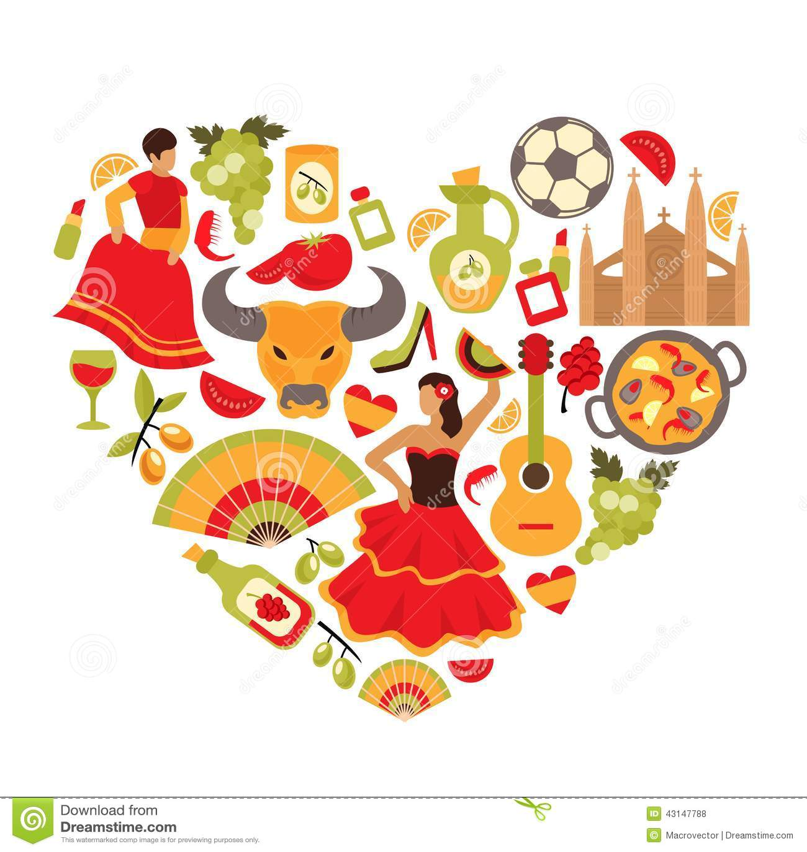 Paella on white vector stock vector image 68986544 - Spain Heart Print Royalty Free Stock Photos