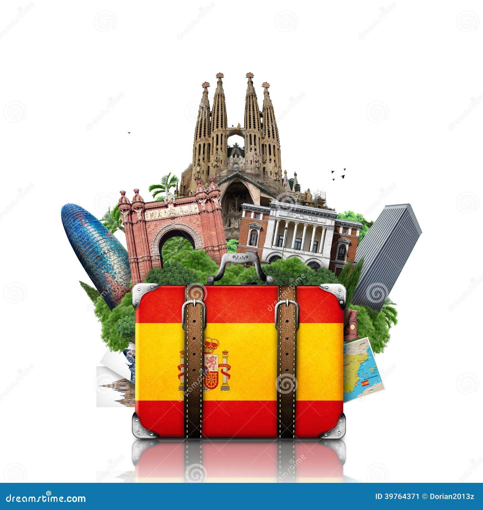 Spain Landmarks Madrid And Barcelona Travel Stock Photo