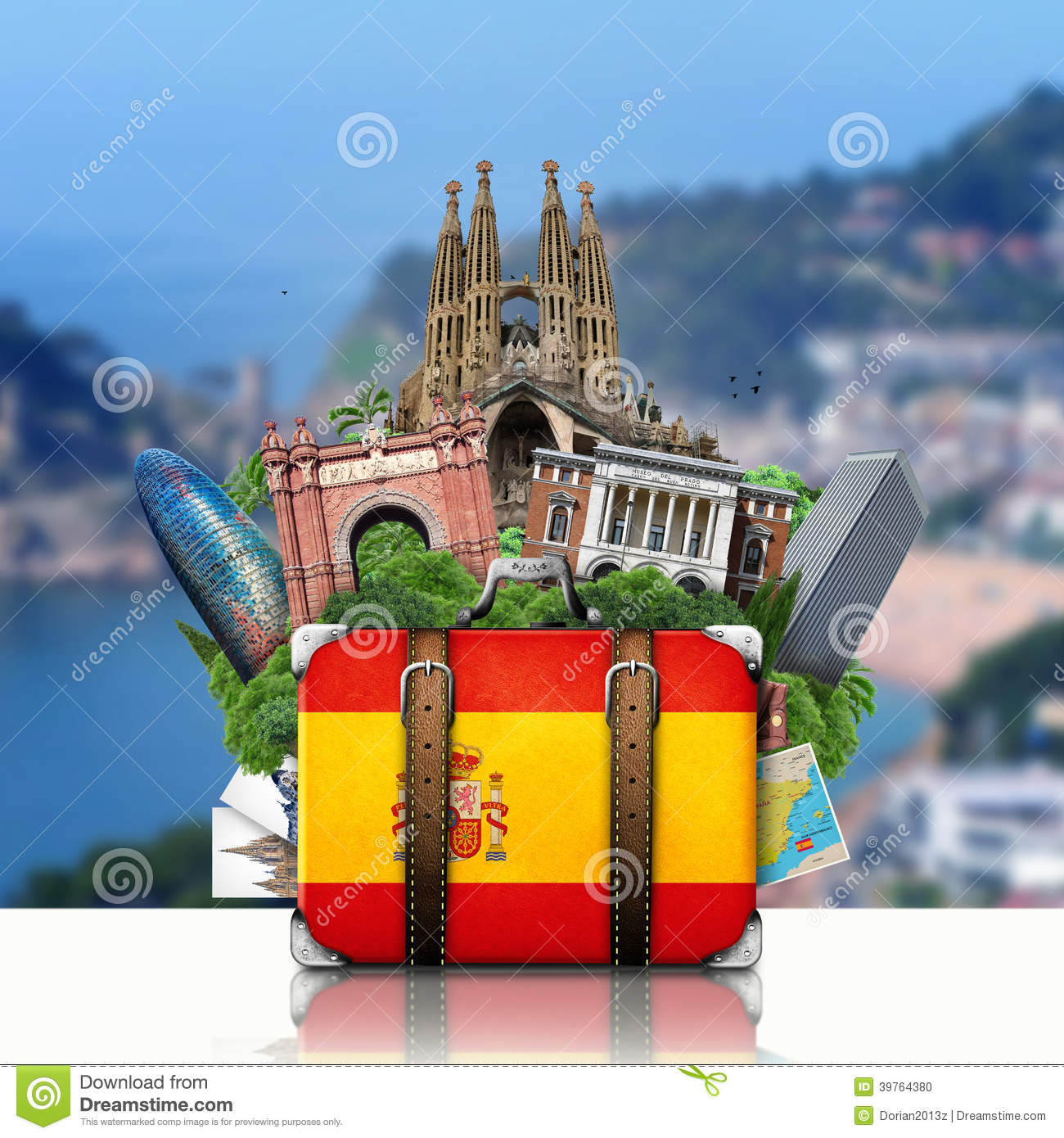 Spain landmarks madrid and barcelona travel stock photo for Viaggio barcellona