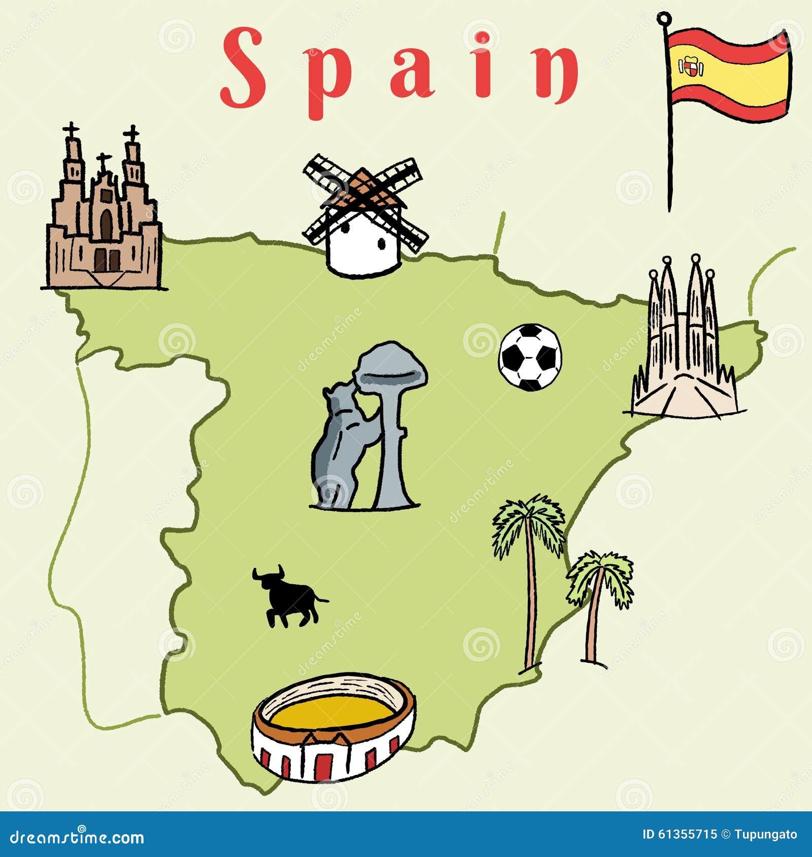Map Of Spain Showing Seville.Spain Landmarks Stock Vector Illustration Of Seville 61355715