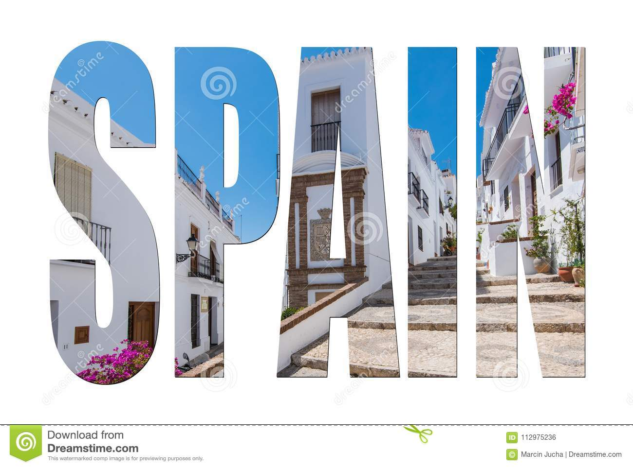 Spain letters isolated, post card template