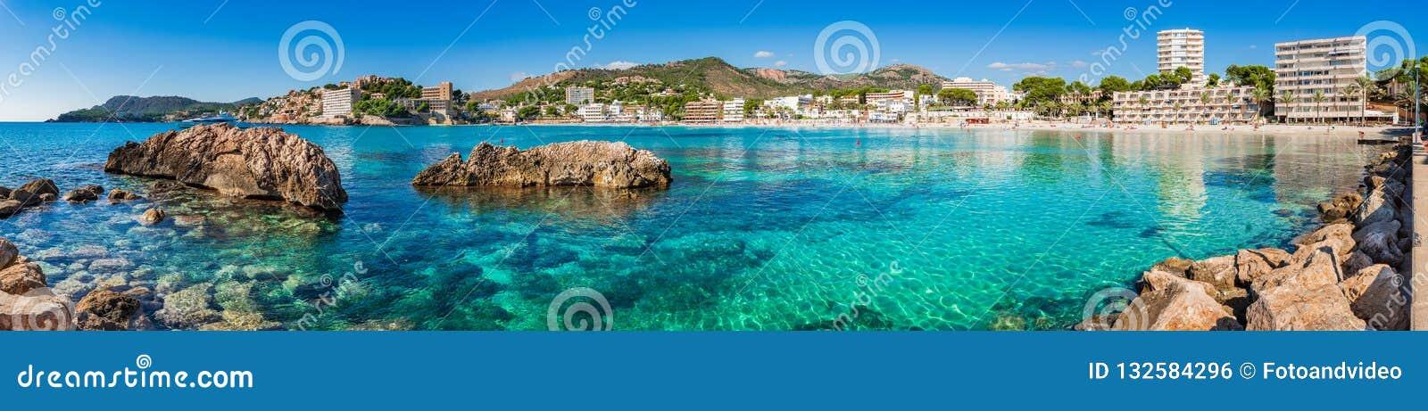 Spain Majorca, beach panorama of coast in Paguera
