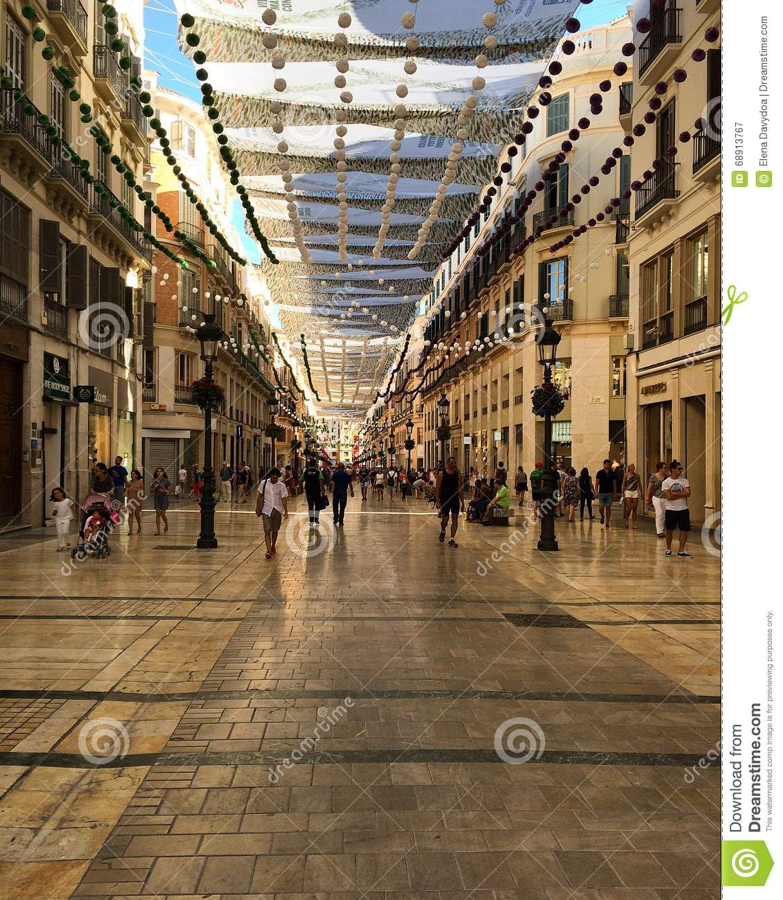 Shopping street under a canopy. & Spain. Malaga. Shopping Street Under A Canopy. Editorial ...