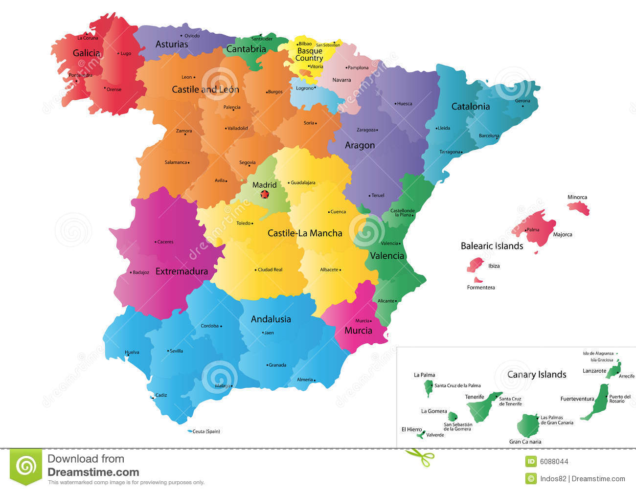 Map Of Spain For Coloring.Spain Map Stock Vector Illustration Of Label Community 6088044