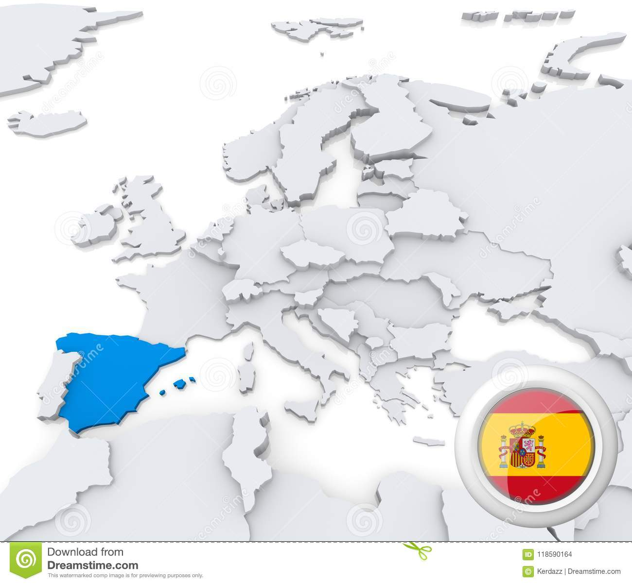 Spain Map Of Europe.Spain On Map Of Europe Stock Illustration Illustration Of Graphic
