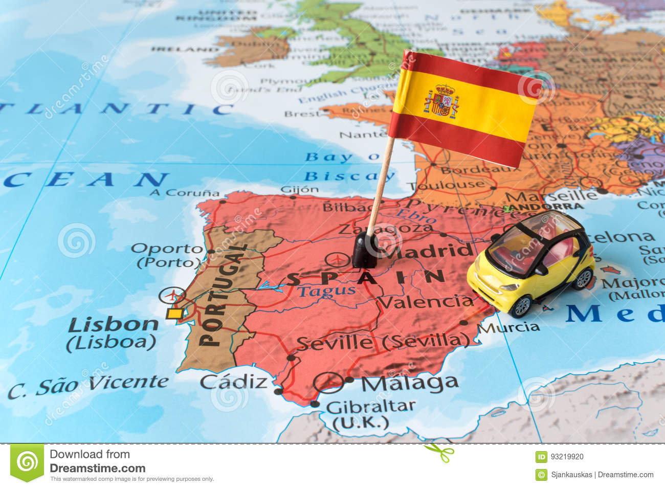 Spain Map Flag.Spain Map Flag And Car Travel Concept Stock Photo Image Of