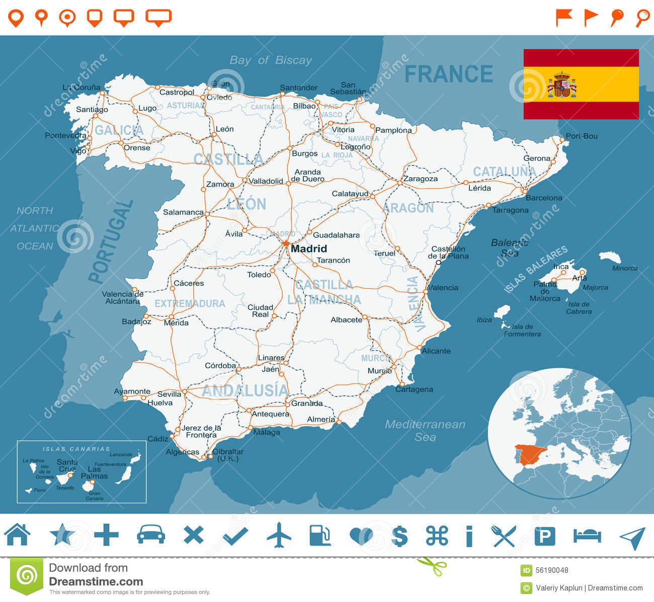 Spain - Map, Flag, Navigation Labels, Roads - Illustration ... on map of maspalomas spain, map of porto spain, map of torrejon spain, map of la manga spain, map of spain major cities, map of santander spain, map of toledo spain, map of irun spain, map of rioja region spain, map of ciudad real spain, map of palamos spain, map of santillana spain, map of priorat spain, map of gava spain, map of ribera del duero spain, map of cadiz spain, map of nerja spain, map of sanlucar spain, large map of spain, map of spain with regions,