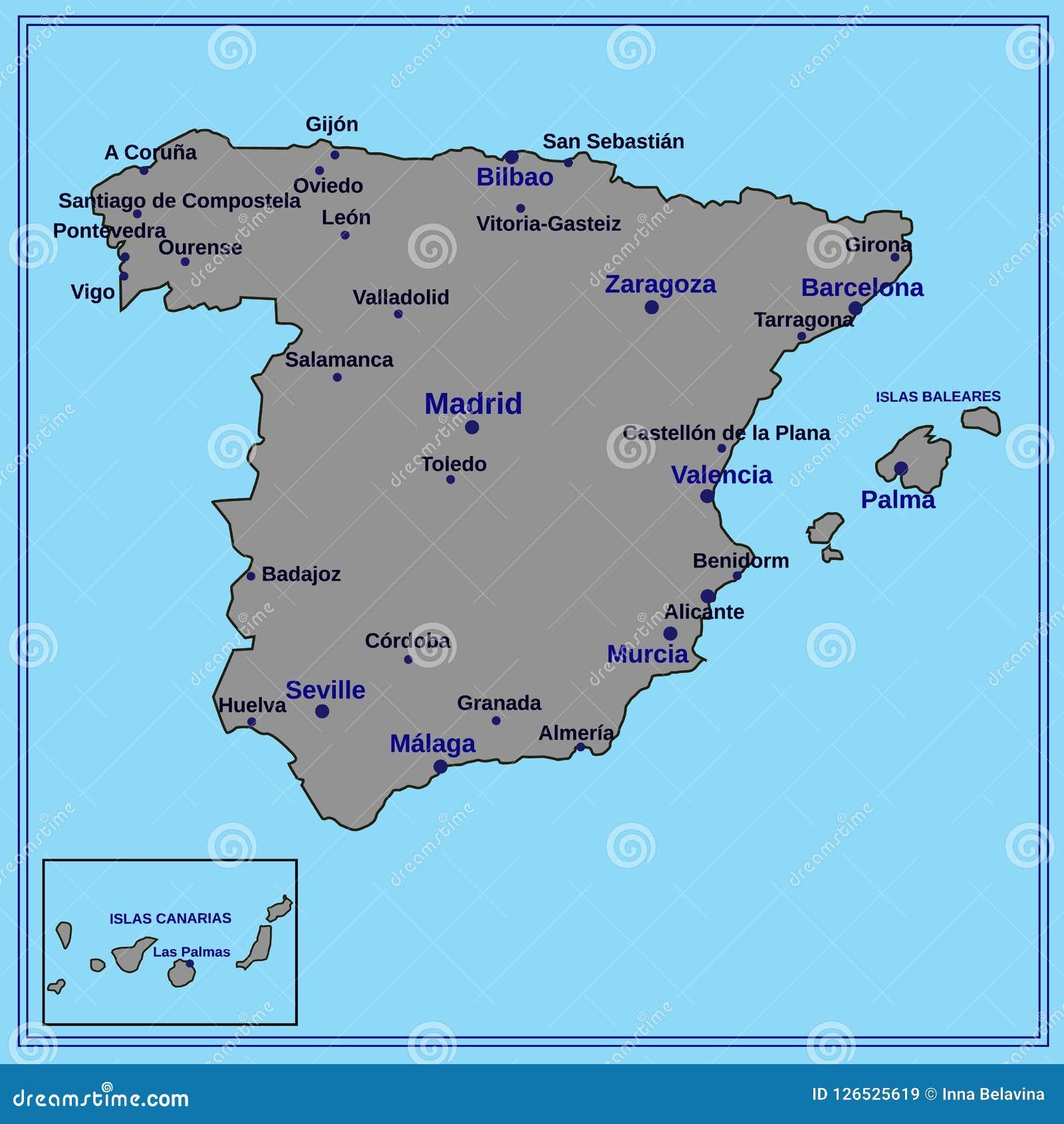 Spain map. Illustration. stock illustration. Illustration of ...