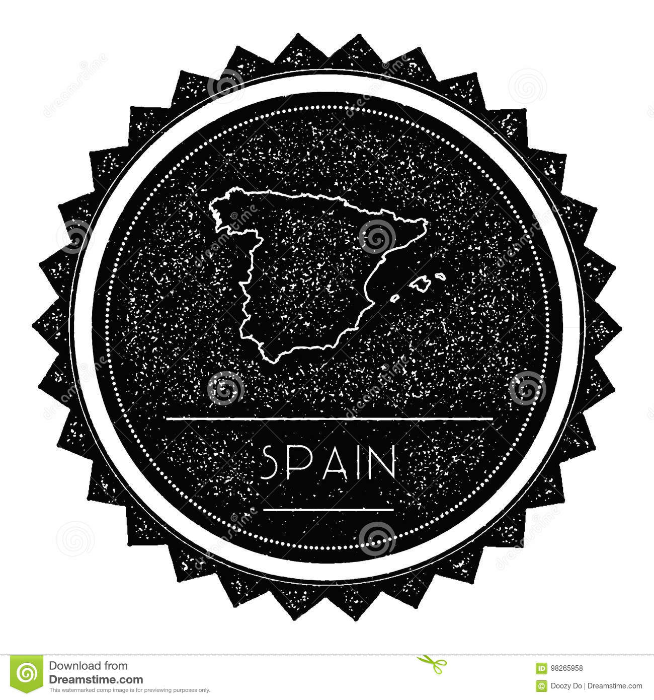 Map Of Spain To Label.Spain Map Label With Retro Vintage Styled Design Stock Vector
