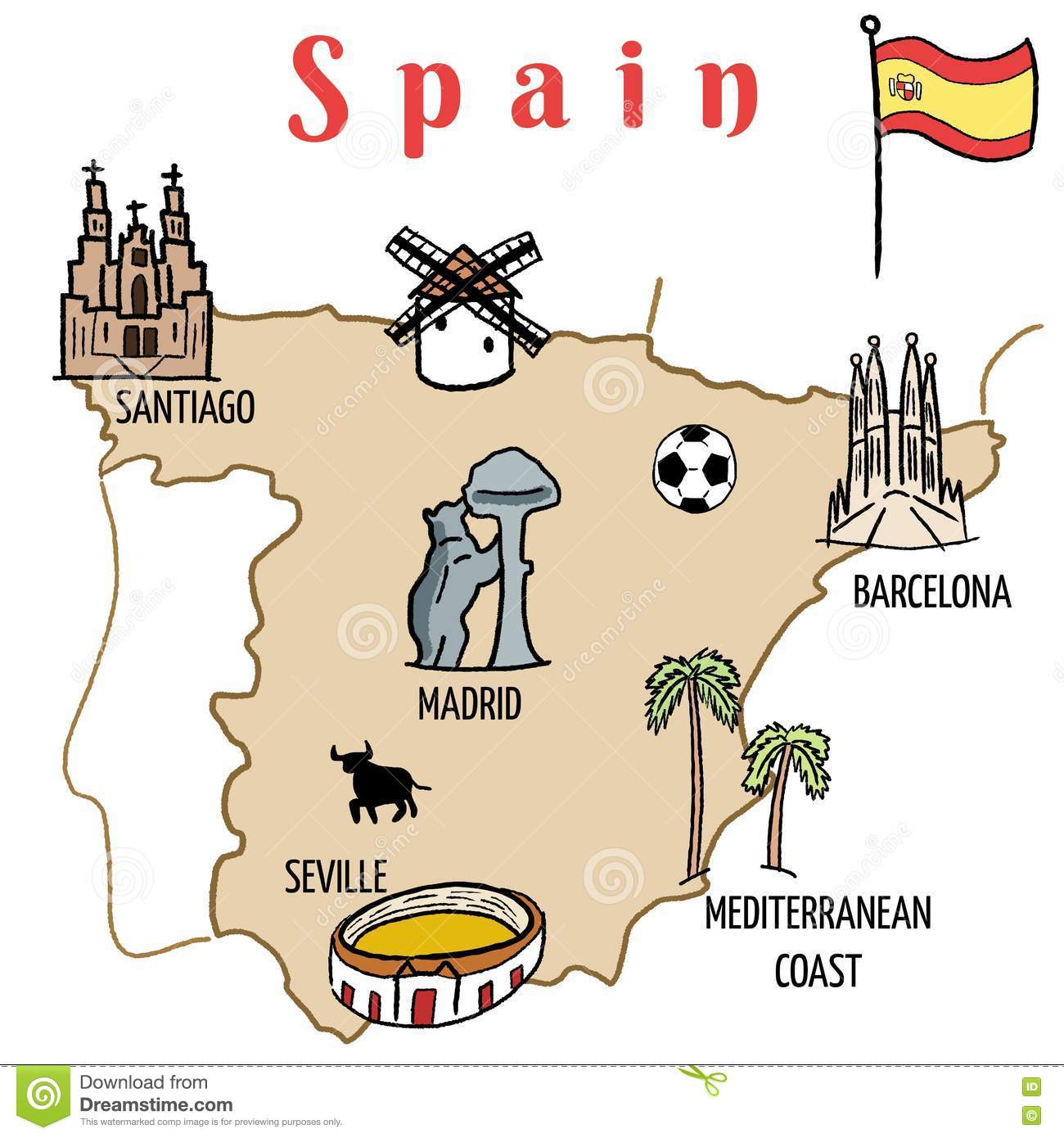 Spain map stock vector. Illustration of flag, tourism - 73365784