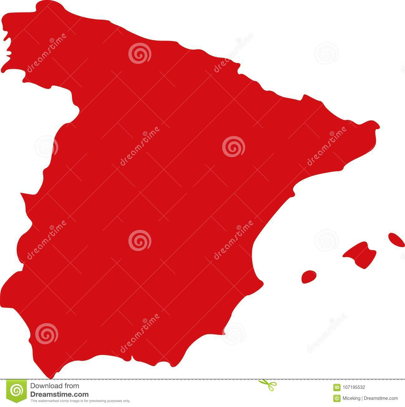 Spain On A Map Of Europe.Spain Map Europe Stock Vector Illustration Of Vector 107195532
