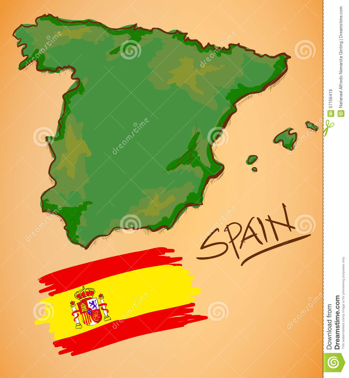 Spain Map Flag.Spain Map And National Flag Vector Stock Vector Illustration Of