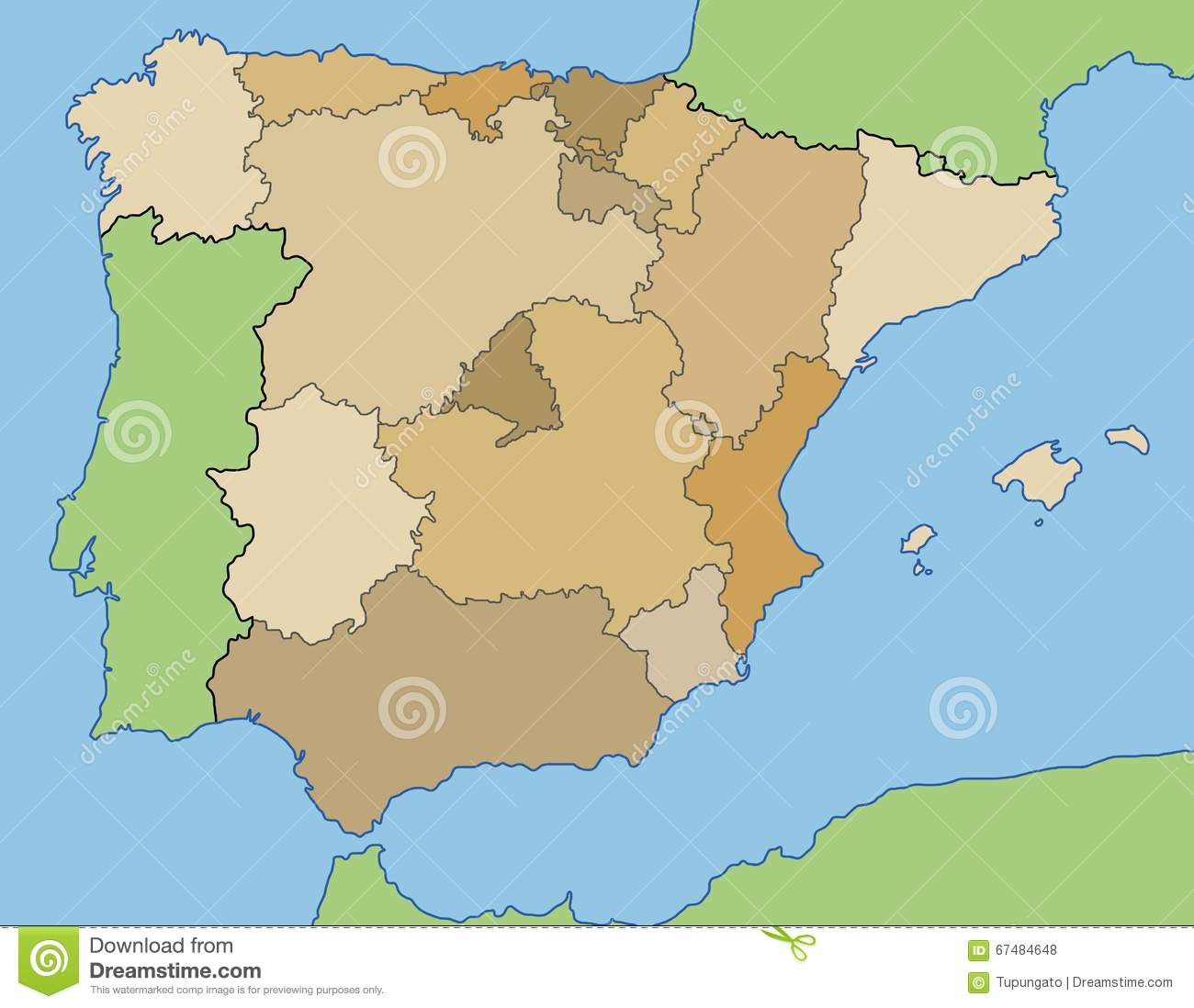 Country Of Spain Map.Spain Map Stock Vector Illustration Of Drawing Province 67484648