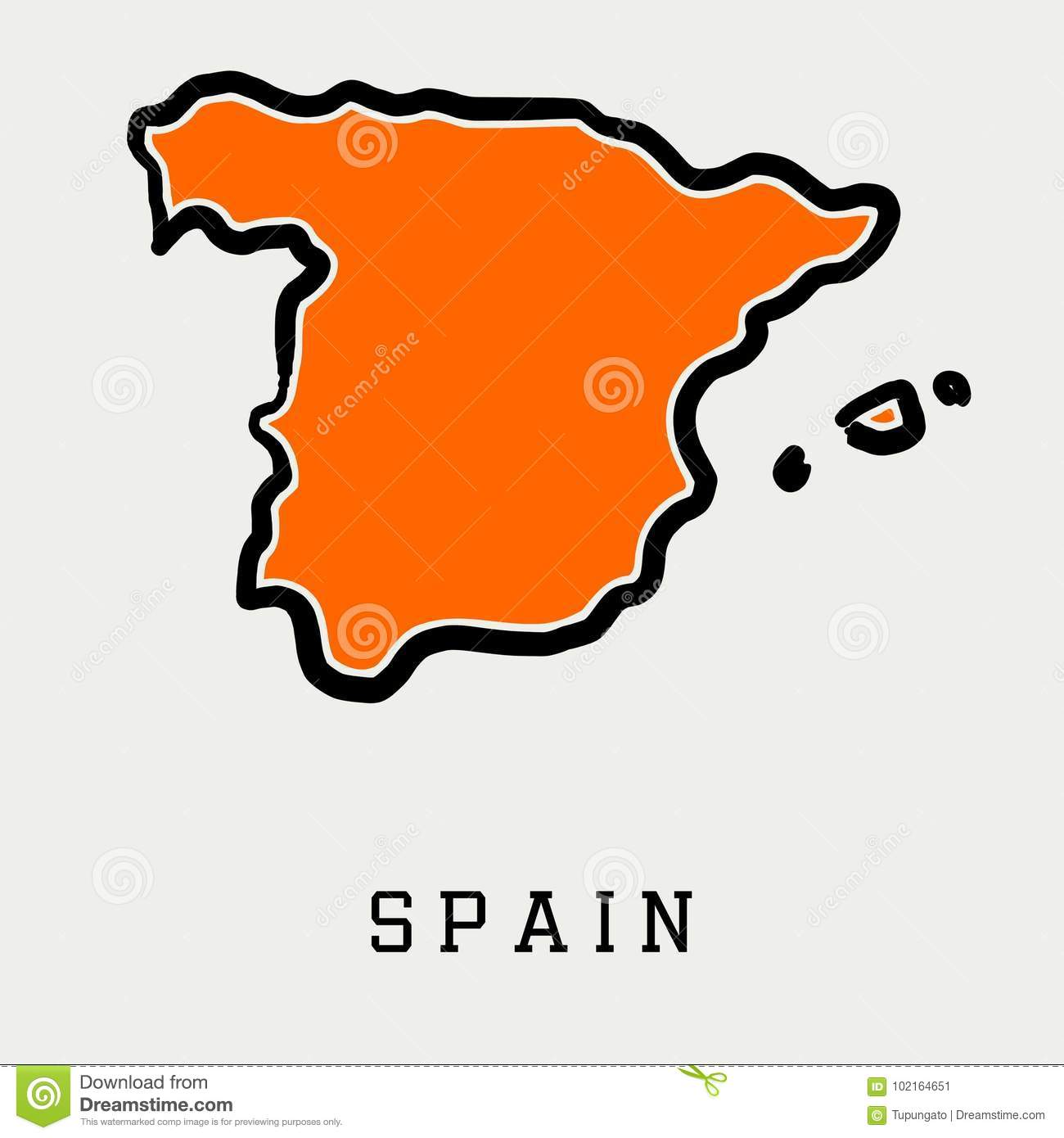 Spain Map Outline Stock Vector Illustration Of State 102164651