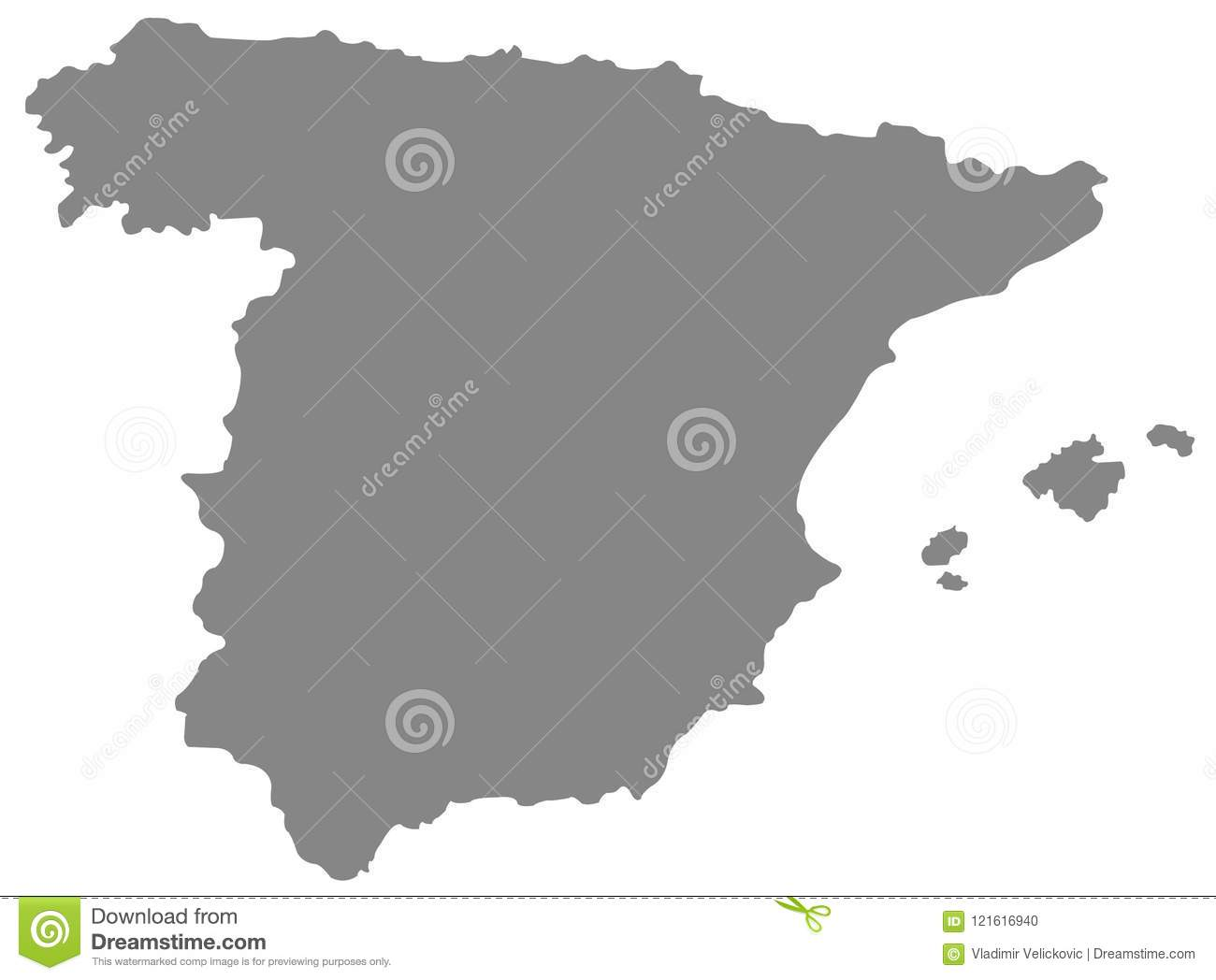Spain Map - Sovereign State On The Iberian Peninsula In Europe Stock ...