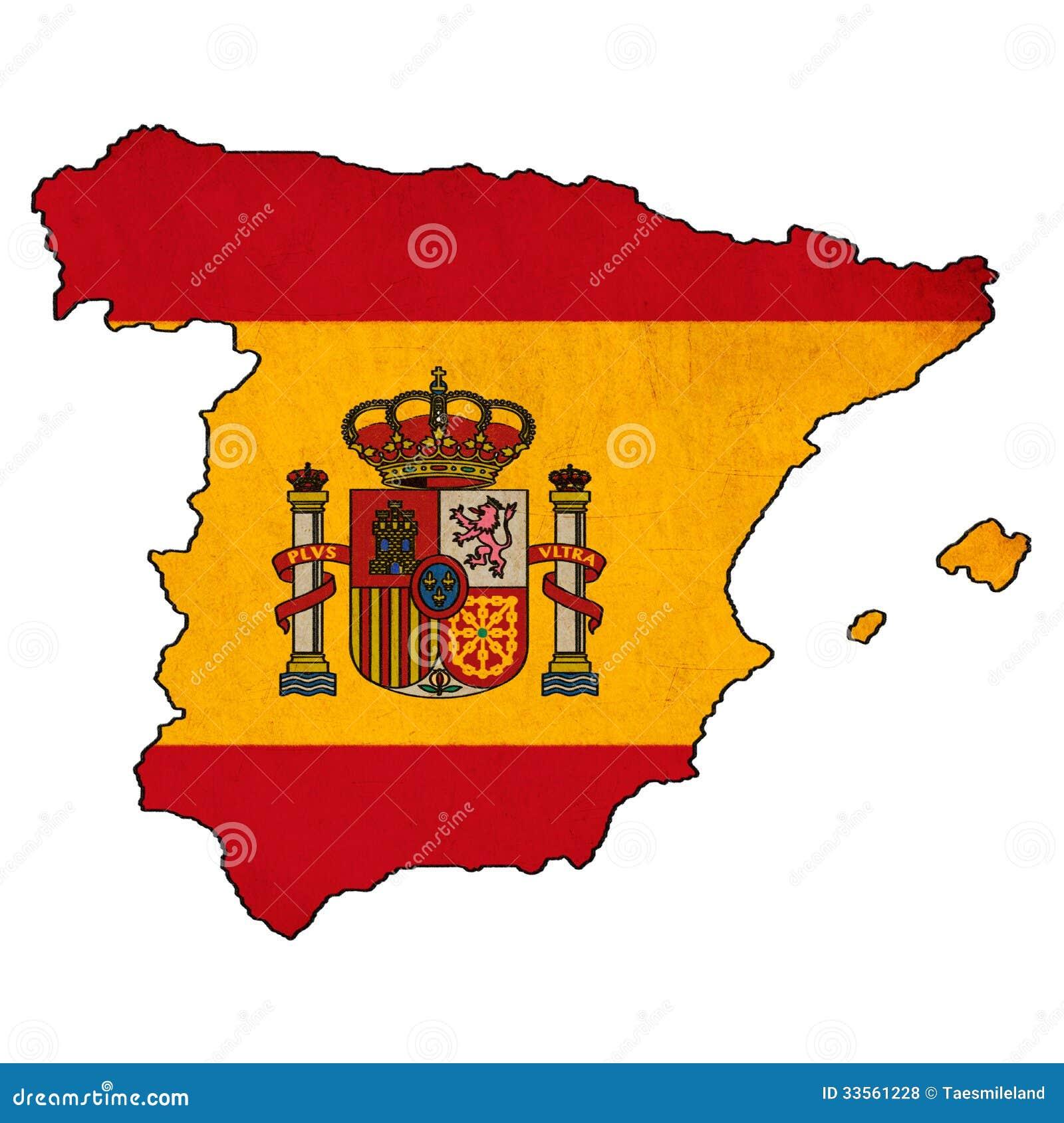 Spain map on Spain flag ...