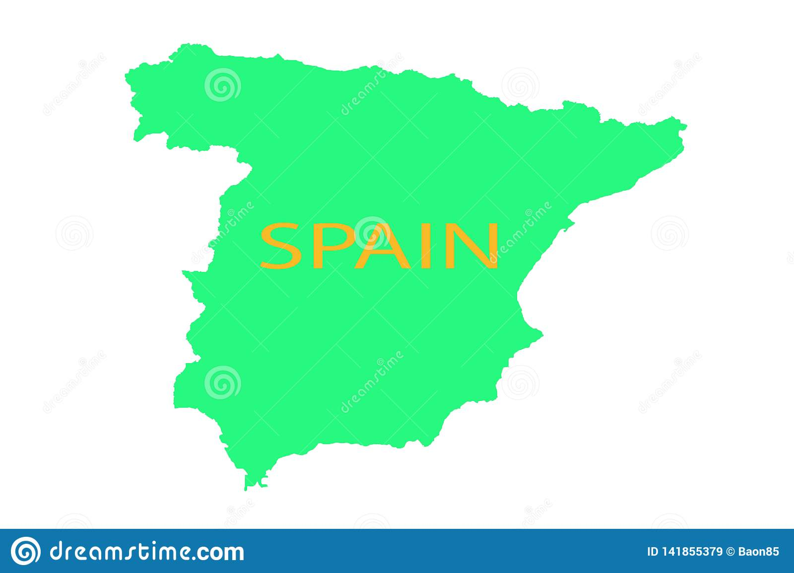 Spain On A Map Spain On The Map United Vision World Yellow Stock Illustration