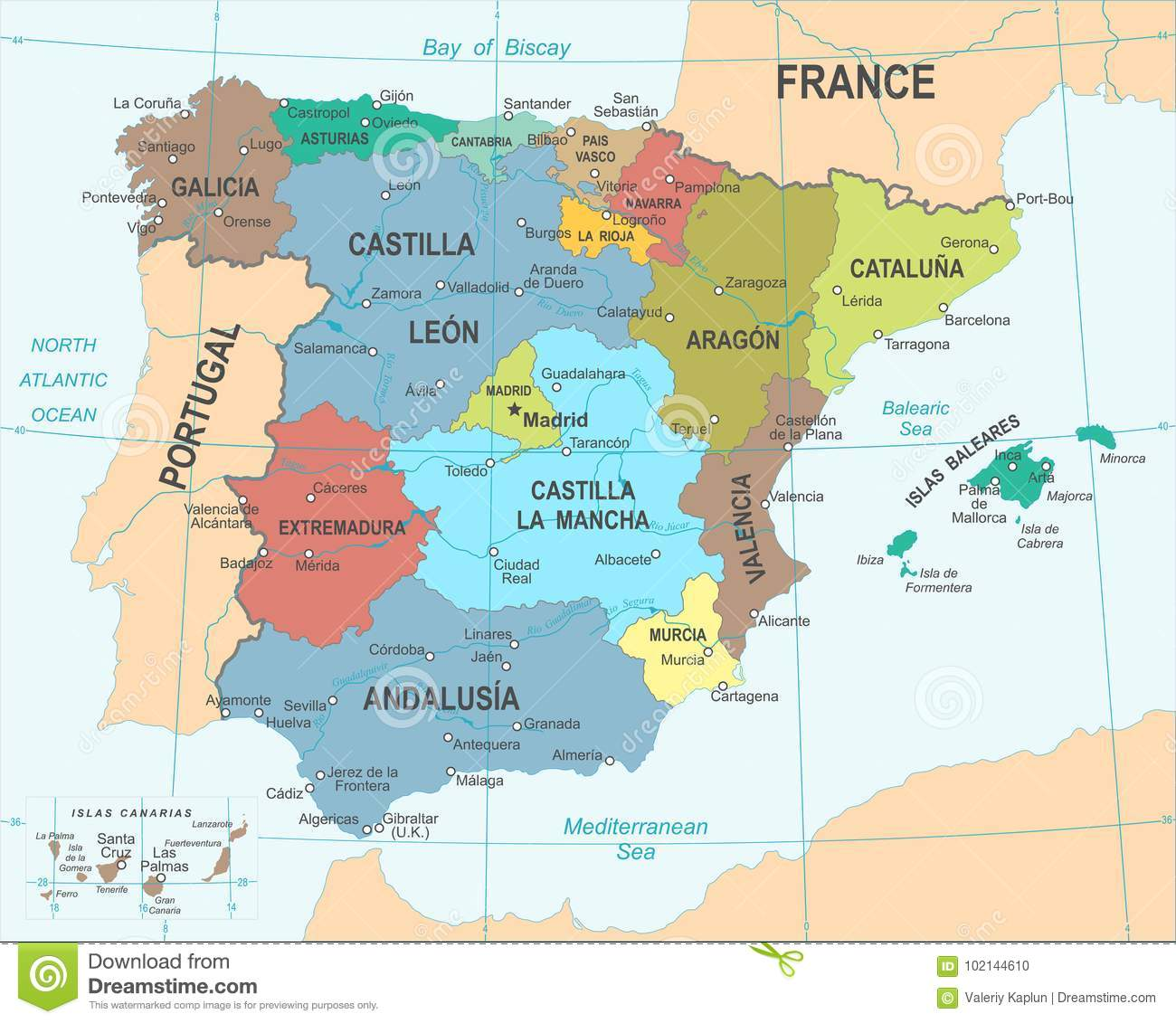 Spain Map - Vector Illustration Stock Illustration - Illustration of ...