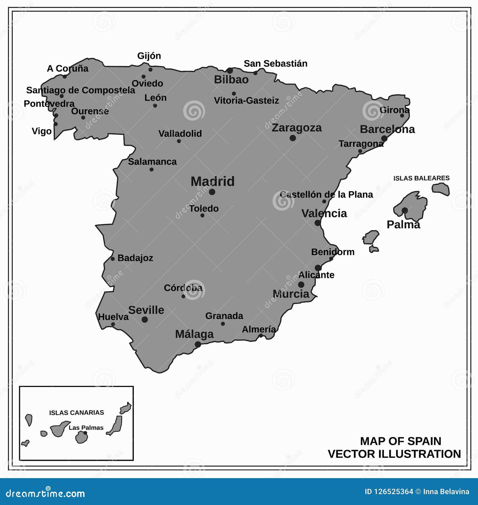 Map Of Spain Benidorm.Spain Map Vector Stock Vector Illustration Of Print 126525364