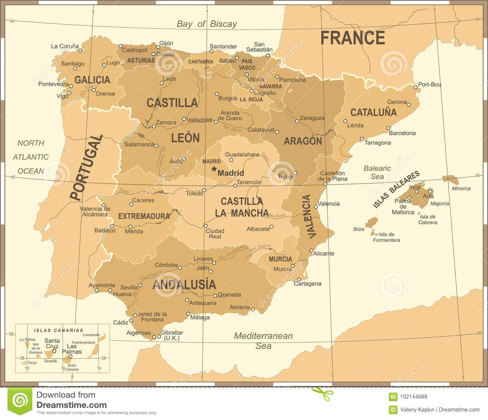 Map Of Spain Granada.Spain Map Vintage Vector Illustration Stock Illustration