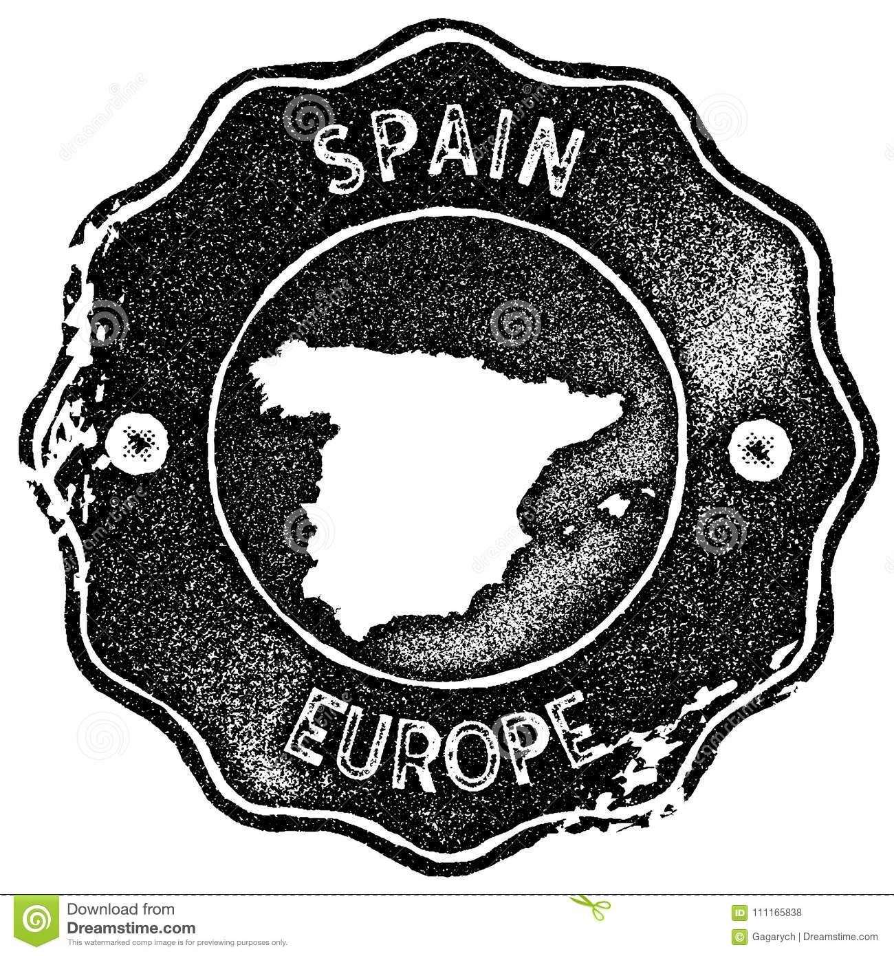 Map Of Spain To Label.Spain Map Vintage Stamp Stock Vector Illustration Of Spain 111165838