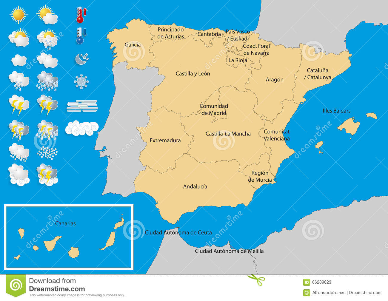 Weather Map Of Spain.Spain Map Weather Convertido Stock Vector Illustration Of Freeze