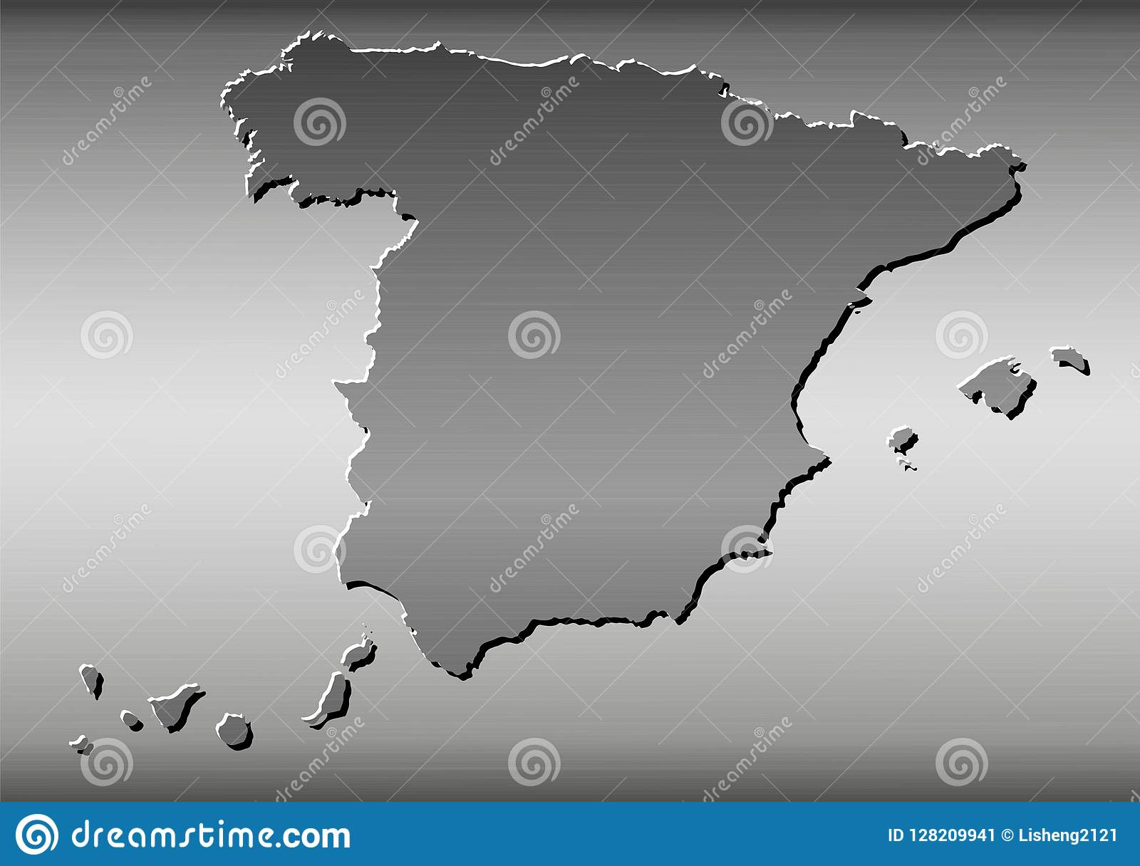 Map Of Spain Drawing.Spain Map Wire Drawing Metal Stock Vector Illustration Of