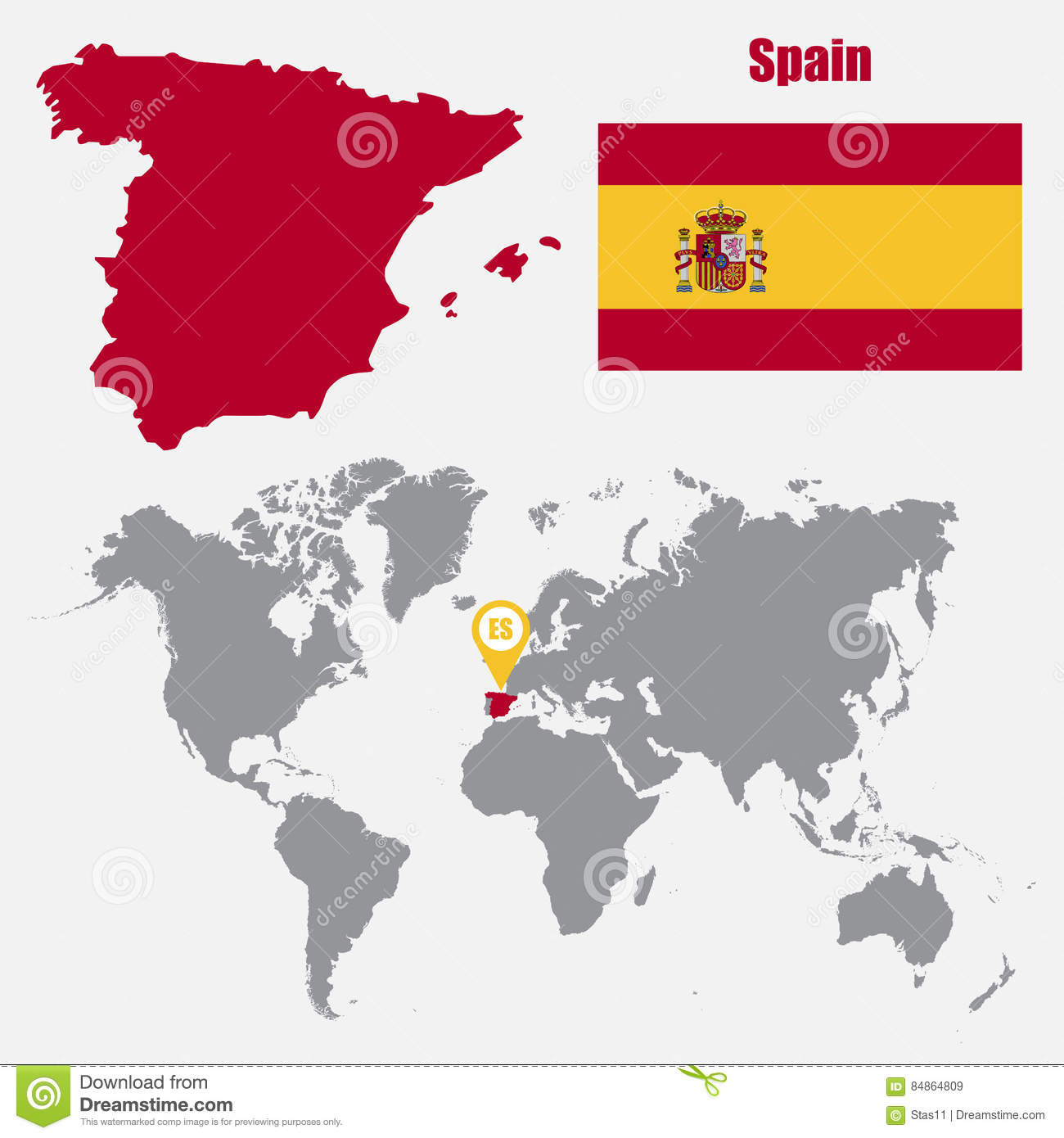 Spain Map On A World Map With Flag And Map Pointer. Vector ...