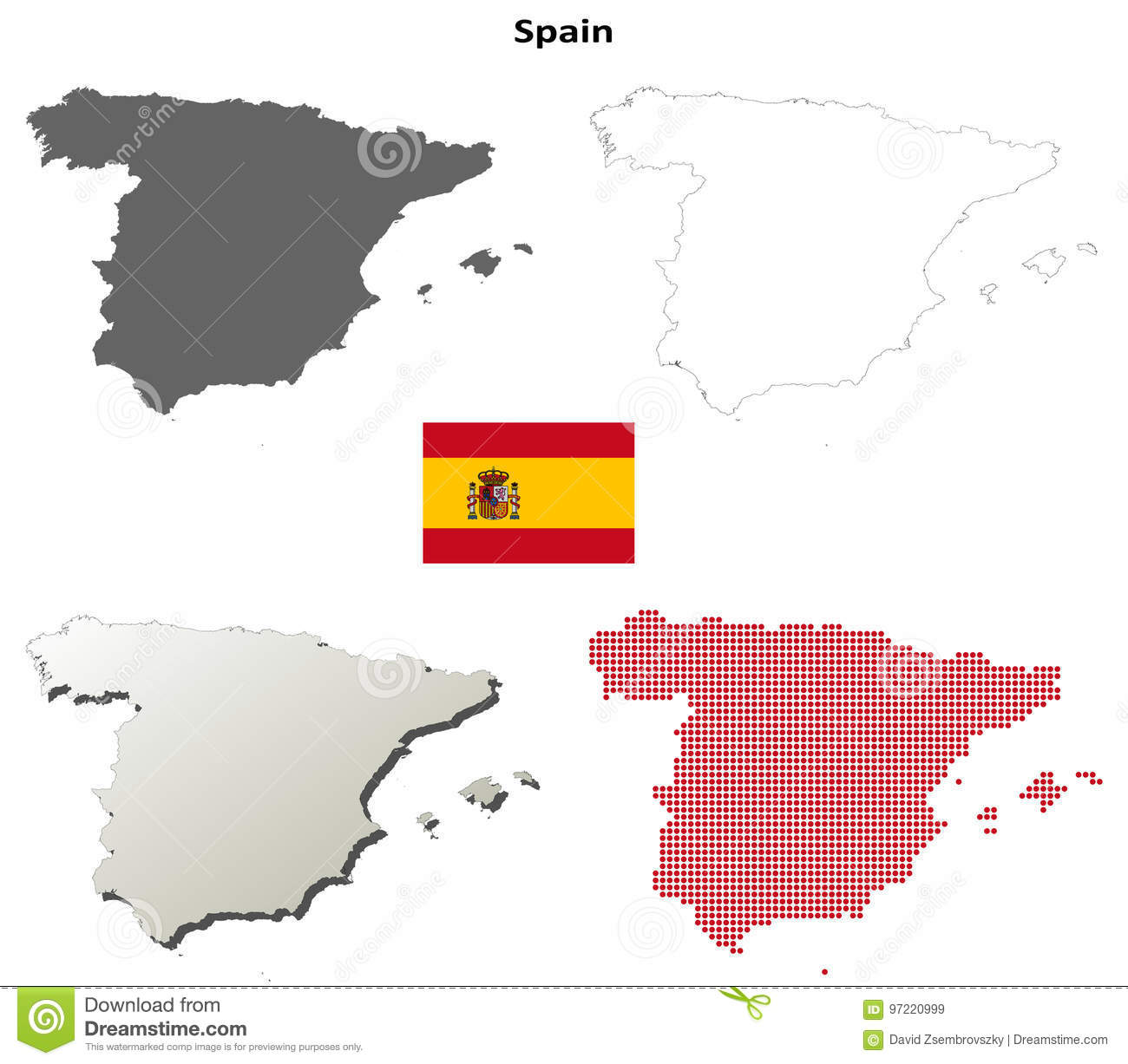Spain outline map set stock vector. Illustration of mosaic ...
