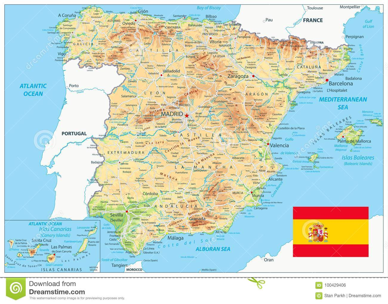 Detailed Map Of Spain.Spain Physical Map Stock Vector Illustration Of City 100429406