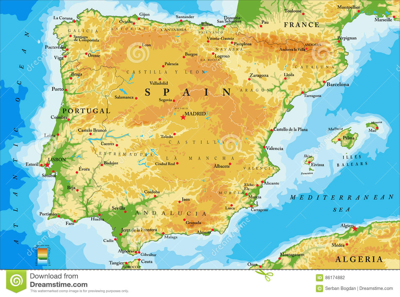 spain physical map stock vector image
