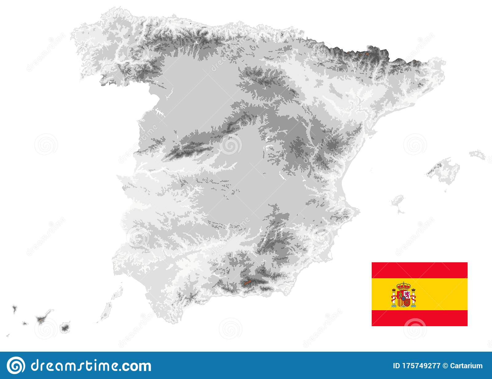 Picture of: Spain Physical Map White And Gray Colors Isolated On White Empty Map Stock Vector Illustration Of Flag Europe 175749277