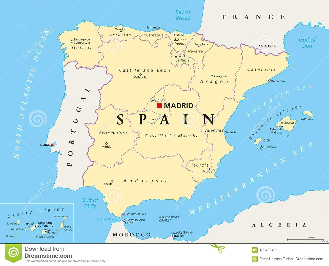 Detailed Map Of Spain In English.Spain Political And Administrative Divisions Map Stock Vector