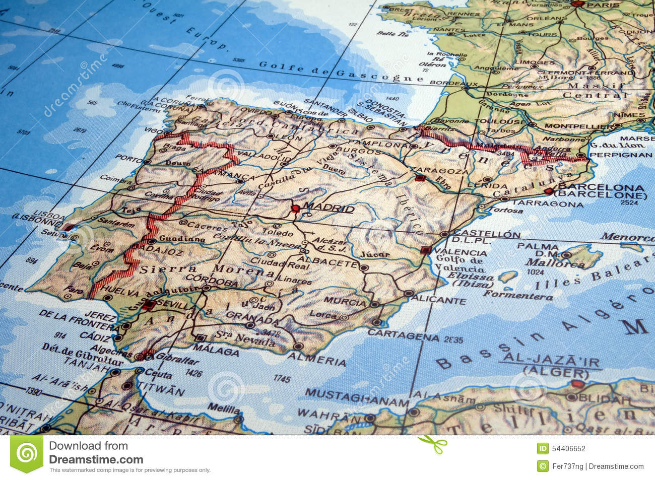 Map Of Spain Portugal And France.Spain And Portugal Map Stock Photo Image Of Mediterranean 54406652