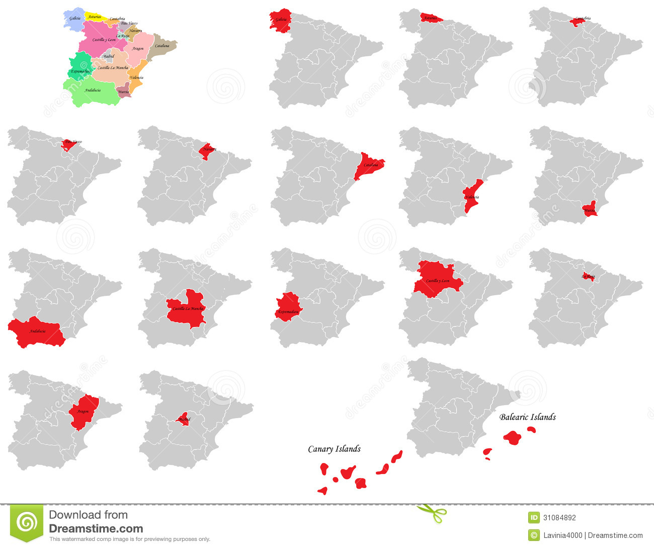 Spain provinces maps stock vector Illustration of abstract 31084892