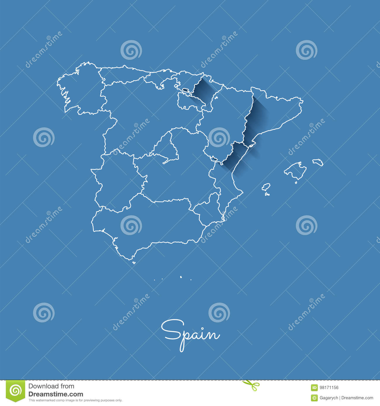 Map Of Spain With Regions.Spain Region Map Blue With White Outline And Stock Vector