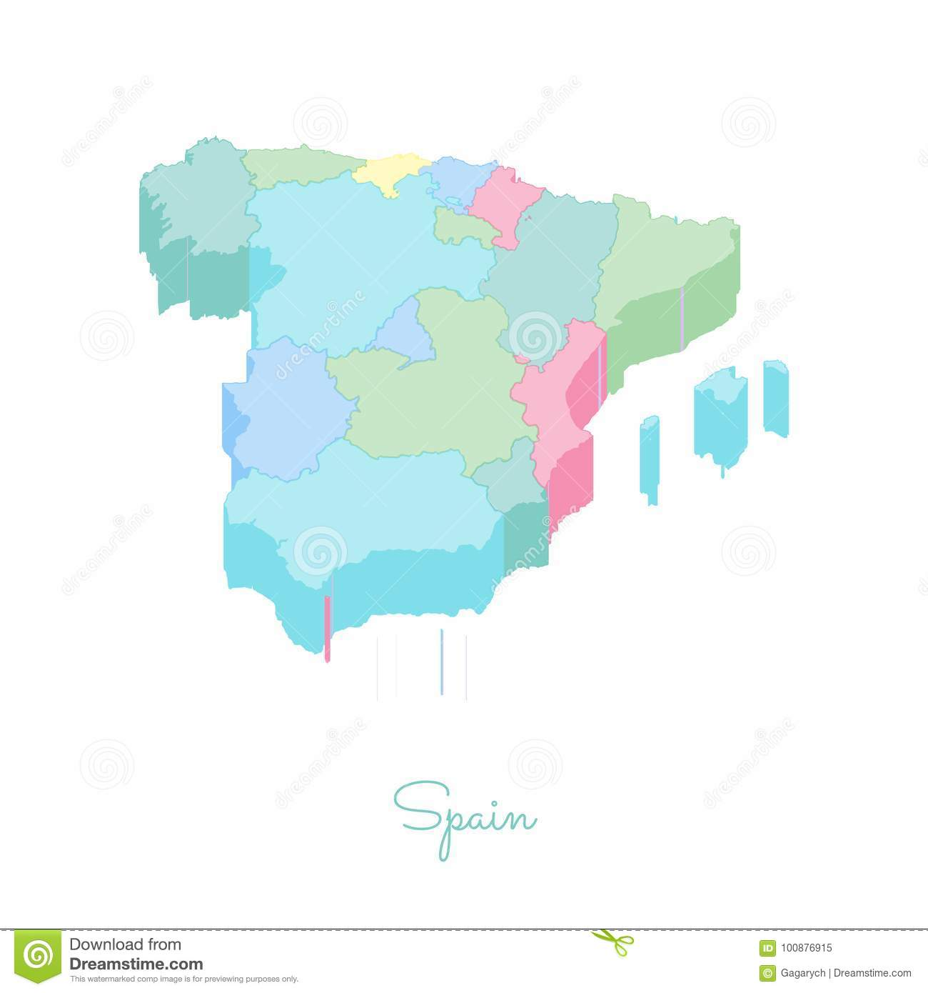 Map Of Spain By Region.Spain Region Map Colorful Isometric Top View Stock Vector