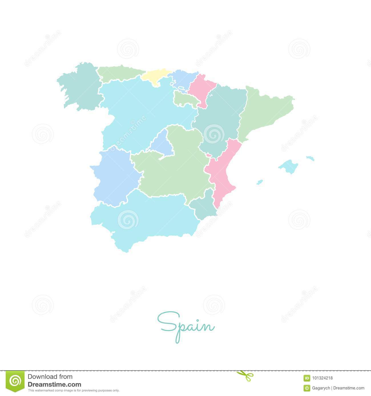 Map Of Spain By Region.Spain Region Map Colorful With White Outline Stock Vector