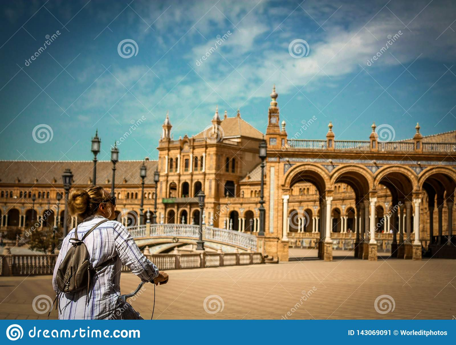 Spain, Seville. Spain Square a is a landmark example of the Renaissance Revival style in Spain
