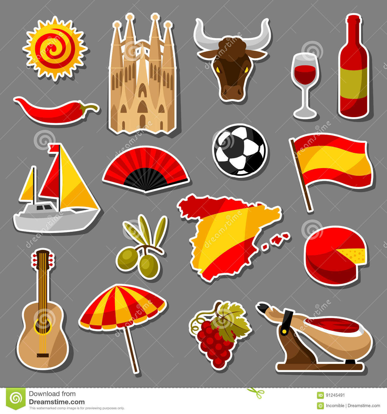 Symboles Traditionnels De L'Espagne Illustration de ...