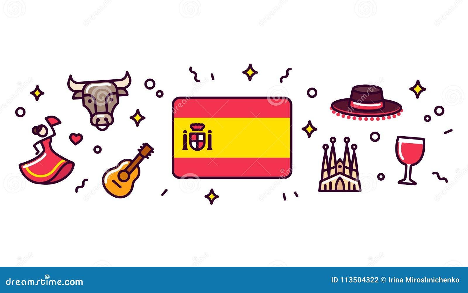 Stupendous Spain Symbols Banner Illustration Stock Vector Download Free Architecture Designs Fluibritishbridgeorg