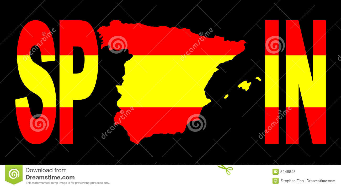 Spain Text With Map On Flag Stock Vector