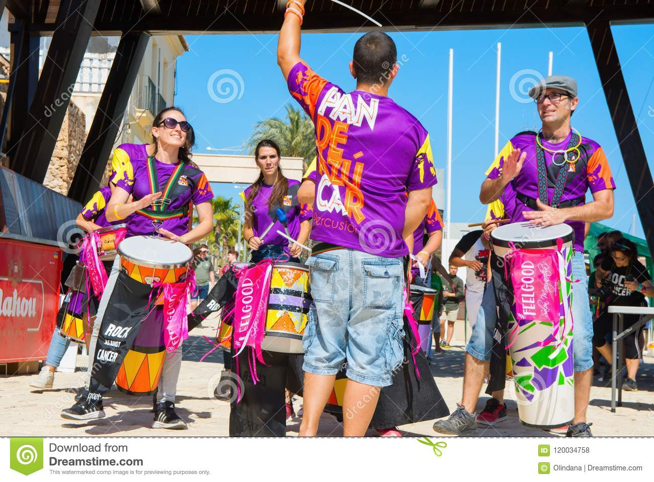 SPAIN-TORREVIEJA, ALICANTE, CONCERT ROCK AGAINST CANCER - JUNE 16, 2018: Bateria of Young People Look at Leader Drum Percussion