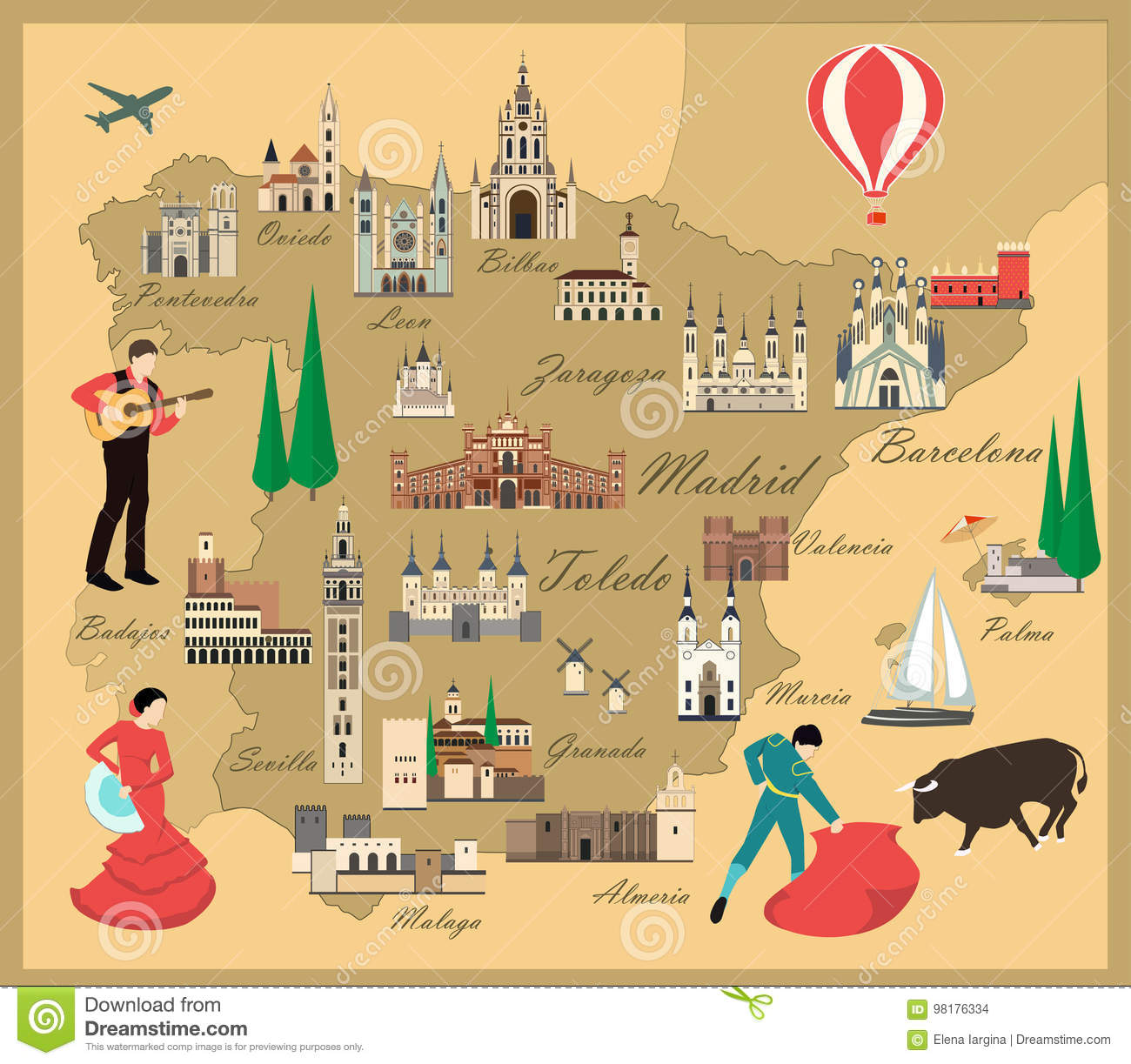 Travel Map Of Spain.Spain Travel Map With Sights Stock Vector Illustration Of Guitar