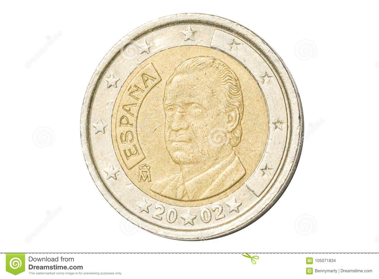 Spain Two Euro Coin Stock Photo Image Of European Isolated 105071834