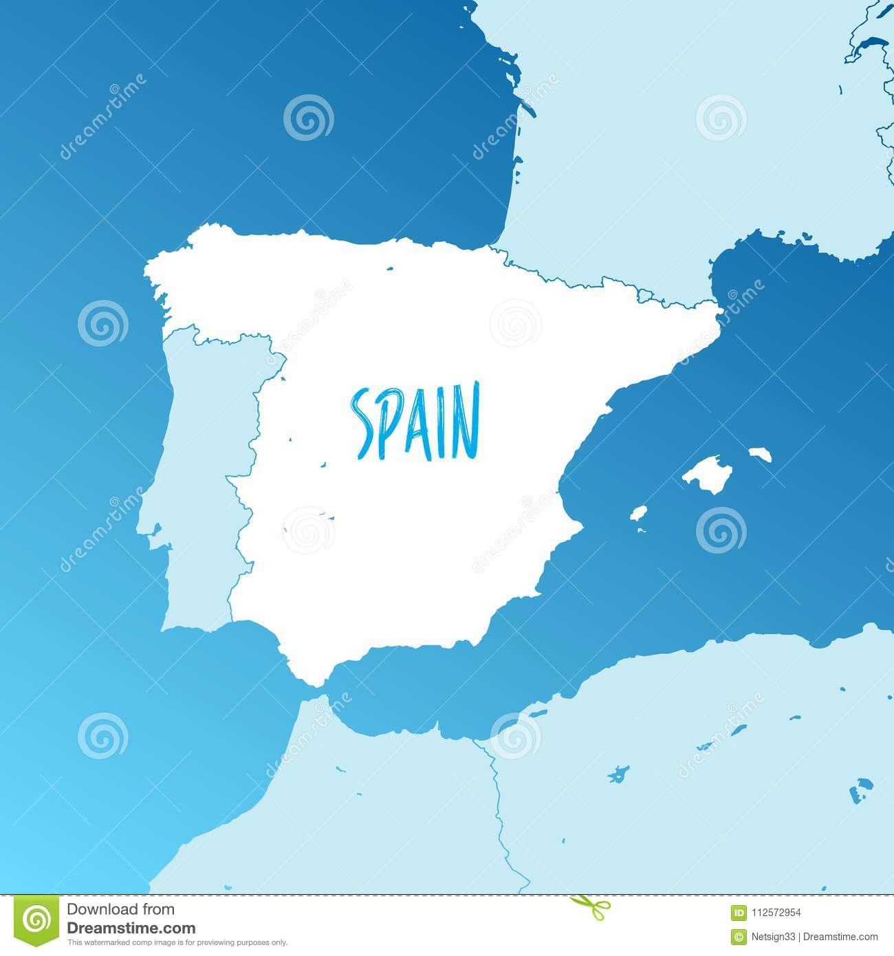 Map Of Spain And Surrounding Islands.Spain Vector Map Stock Vector Illustration Of Icons 112572954